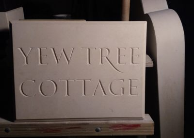Portland limestone house sign