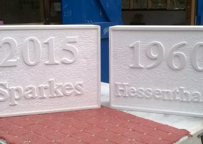 Bespoke Portland limestone date stones with raised letters