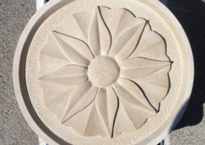 Flower carving on Portland limestone feature stone#