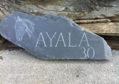 Rustic Welsh slate house sign with horse head carved in relief