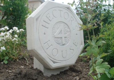 Bespoke Portland limestone house sign and raised number