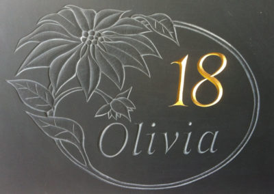 18th Birthday present carved on Welsh slate with Gilded 18