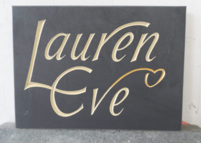 Name plate for a birthday present on welsh slate