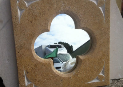Bespoke Sandstone mirror with hearts carved in the corners