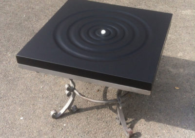 Welsh slate coffee table with ripple design carving