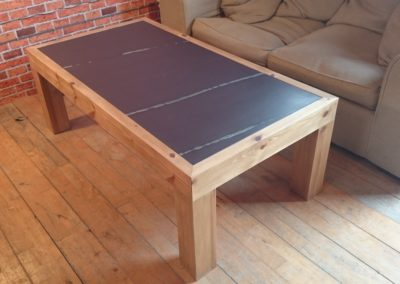 Hand made pine coffee table with Plum Slate inlayed