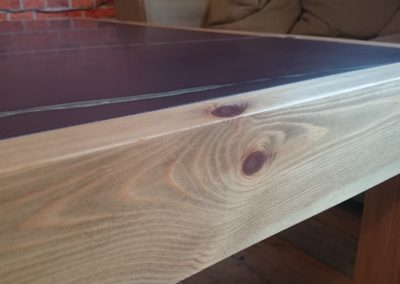 Hand made pine coffee table with Plum Slate inlayed-close up