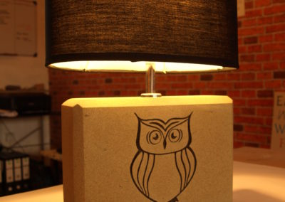 York Sandstone lamp with owl carving