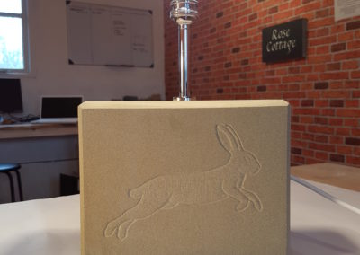 York Sandstone lamp with hare carving