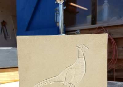 York Sandstone lamp with pheasant carving